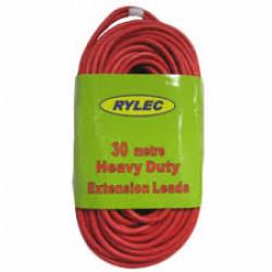 EXTENSION Lead HD Red w/Neon Plug 30m Rylec